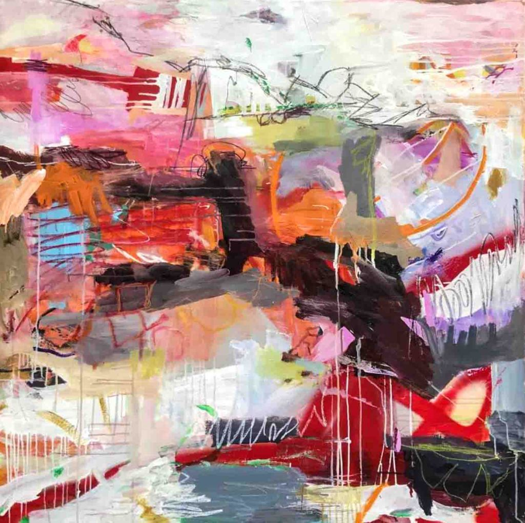 The image depicts a painting titled  Let the Fire Burn the Ice by the artist. The work is a abstract expressionist work painted in vibrant rainbow hues, textures and running paint.