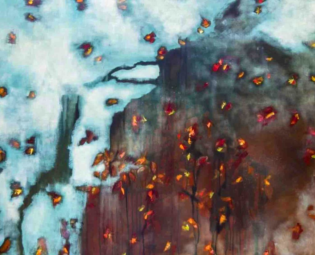 The image depicts a painting titled  A Rain of Autumn Leaves by the artist Danielle Waechter,. The work is a semi-abstract  painting showing autumn's leaves falling and being blown by the wind. The work is set against a wintry sky in subdued hues of blues, whites and greys and snow is already beginning to fall . The image supports the poem Fall, Leaves, Fall written by the poet Emily Brontë.