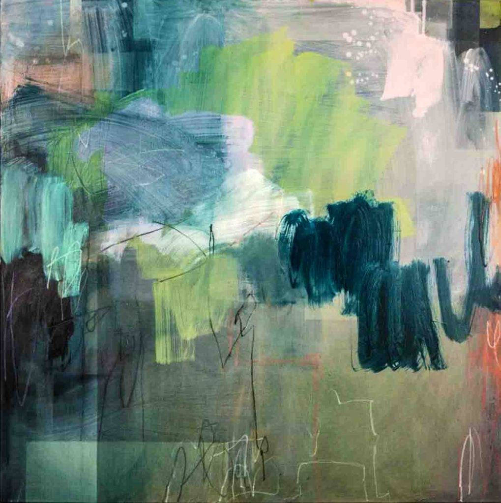 The image depicts a painting titled In the Shadows by the artist Michelle Wickland-Sims. The work is an abstract landscape painting in muted shades of green white and blue with splashes of bright orange, white and yell. This piece depicts a blossom lined pond in in a park . Trying to convey the wonderfully colourful reflections and movement on an ever changing picture. The work captures the unexpected landscape within an urban setting and shows the changing of light, colour and movement over time.