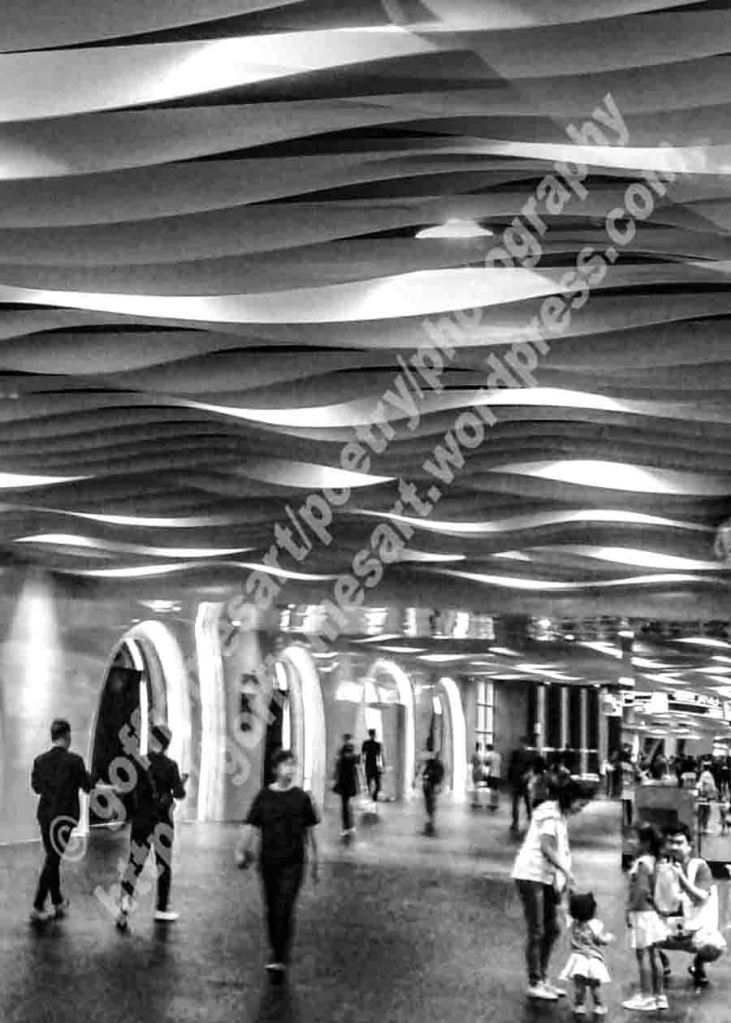 The image depicts a black and white photograph titled Just Passing Through by the photographer Goff james. The work depicts people passing along a wide arched corridor and under a multi-curved designed ceiling.