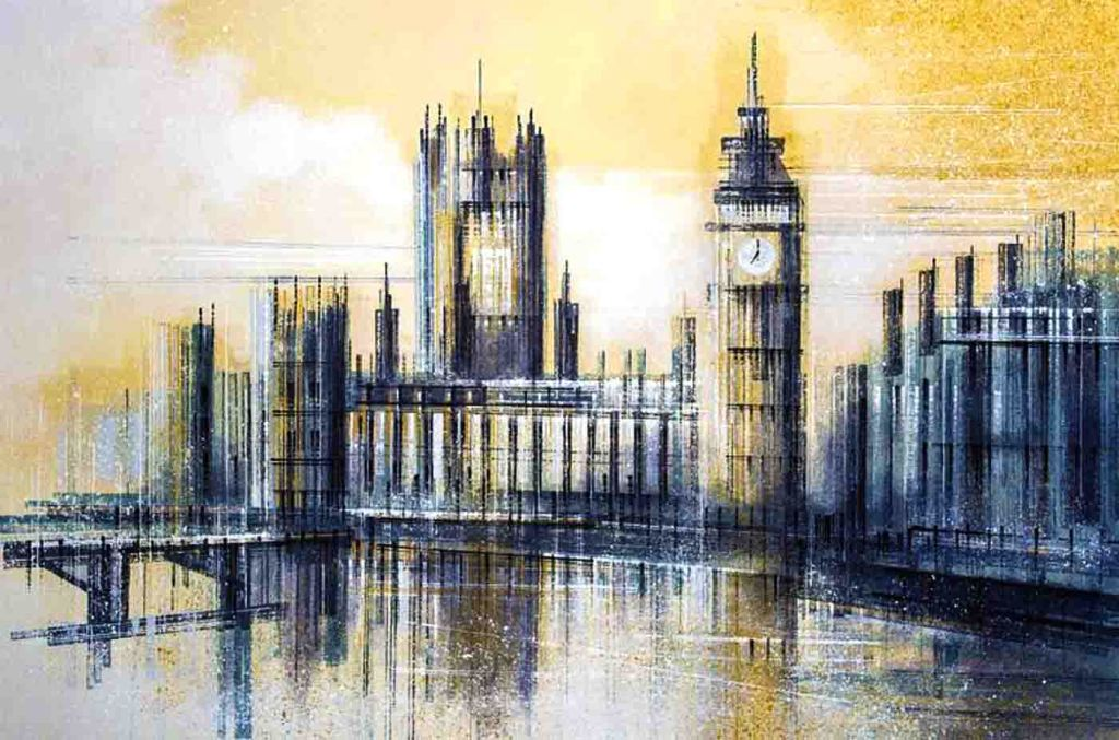 The image depicts a painting titled London - Big Ben And The Houses of Parliament at Dusk by the artist Marc Todd. The work is a landscape semi- impressionist stylized painting that presents the viewer with an iconic view of Big Ben and The Houses Of Parliament at dusk. It is painted in neutral colours of ochre and blue, and created in the artist's signature style, which utilises a range of tools and painting implements to create a unique visual effect.
