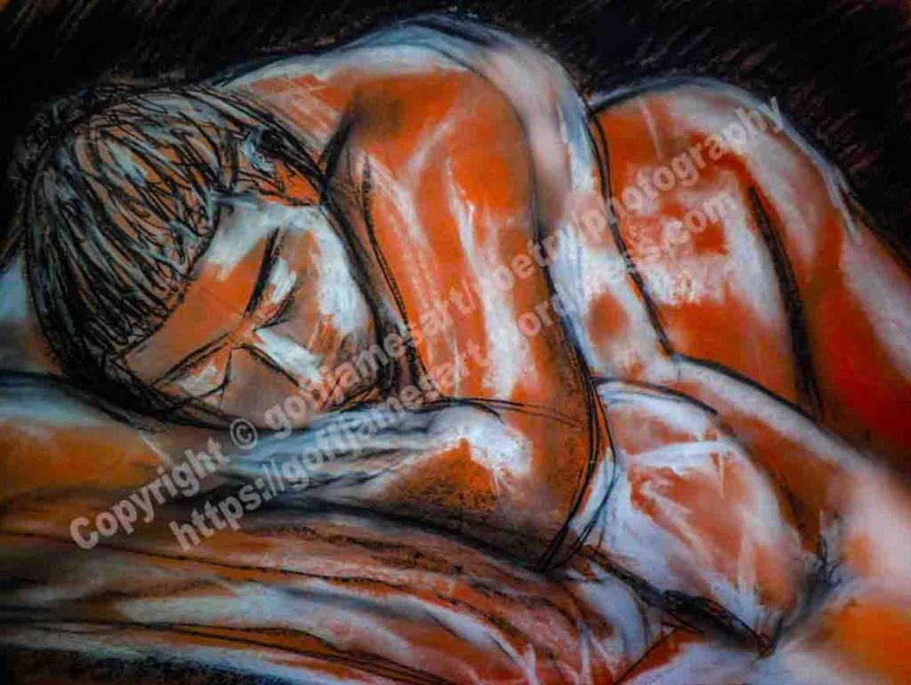 The image depicts a drawing titled Sleeping  by the artist Goff James. The work is a charcoal, conté and chalk drawing of a sleeping female nude.