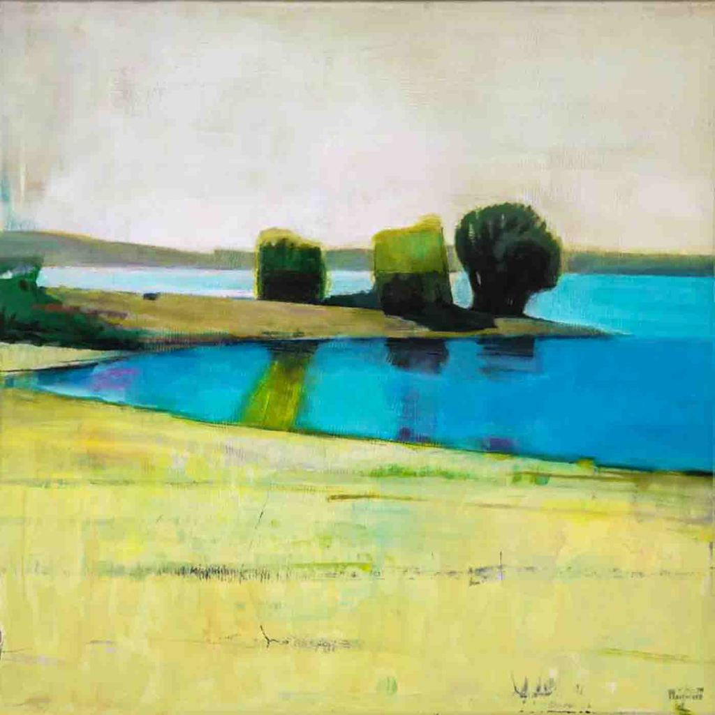 The image depicts a painting titled Silence on the River by the artist Bo Kravchenko. The work is an atmospheric semi-abstract landscape painting. The composition demonstrate the artist's mastery of colour. Confident colour combinations and bold compositions give the work a distinct contemporary feel that elevates it within the traditional genre, often blurring the line into abstraction. On the surface there is a tranquility to the landscape, but its anonymous nature gives it an emotional charge, as one is encouraged to create ones own narratives about the piece. It is a work makes one want to explore the canvas.