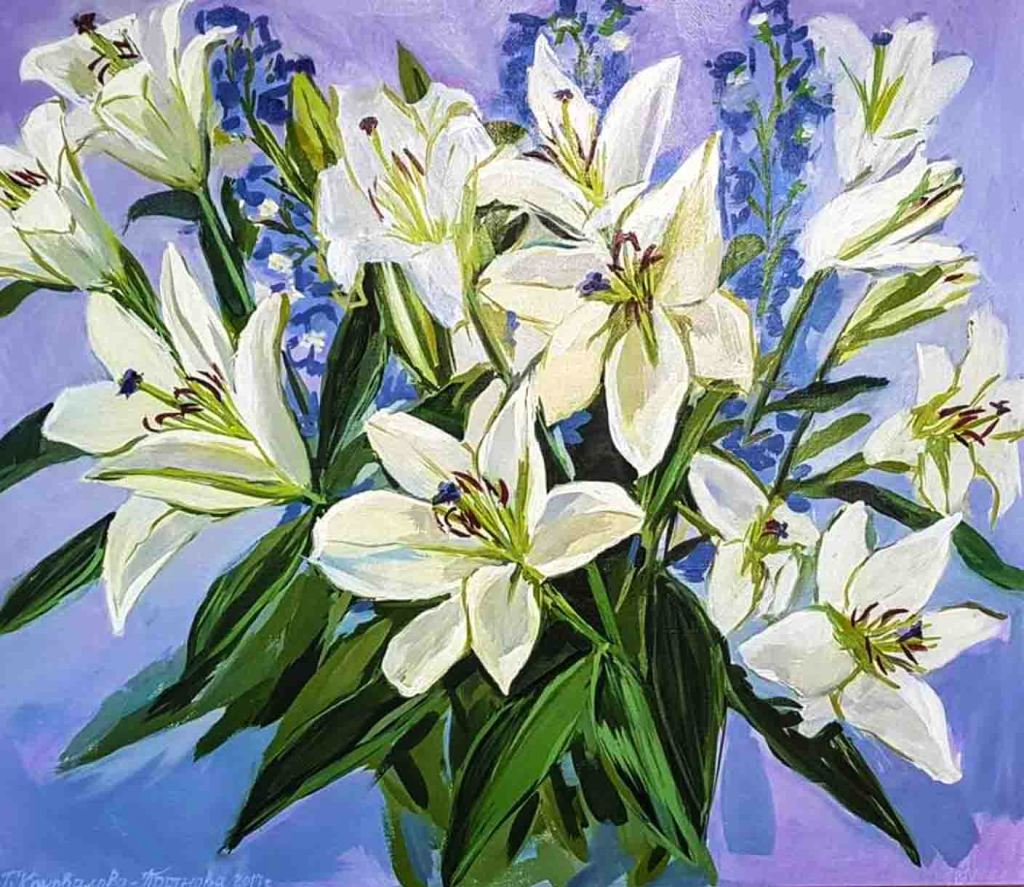 The image depicts a painting titled White Lilies by the artist Oksana Konovalova-Portnova. The work is a painting of a bouquet of white lilies interspersed with sprays of blue delphinium like flowers on a dark blue / violet background.. and  The image supports the poem The Lily written by the poet William Blake.