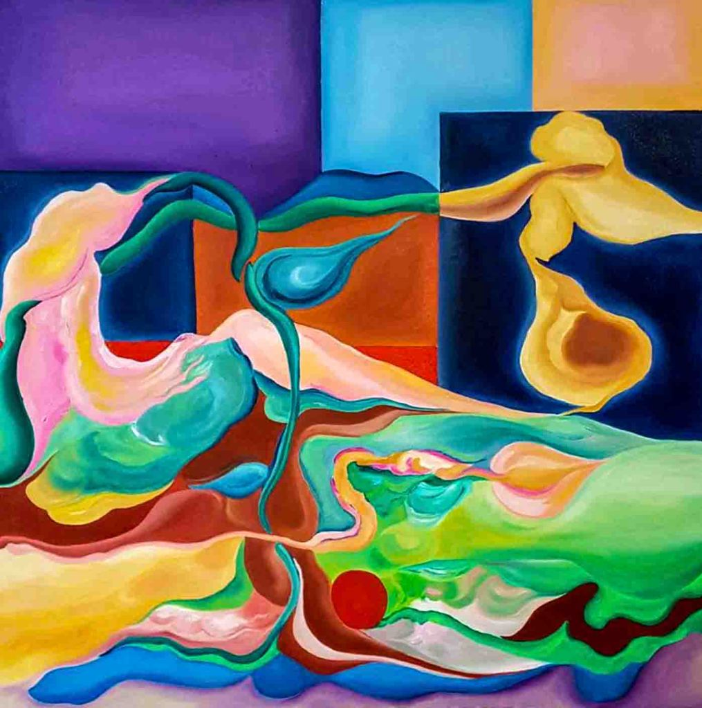 The image depicts a painting titled Glowing Lily by the artist Ariel Shea.  The work is a vibrant semi-abstract painting of a golden lily growing from a surreal landscape and set against a background composed of purple, light blue, dark blue orange and red rectangular shapes.