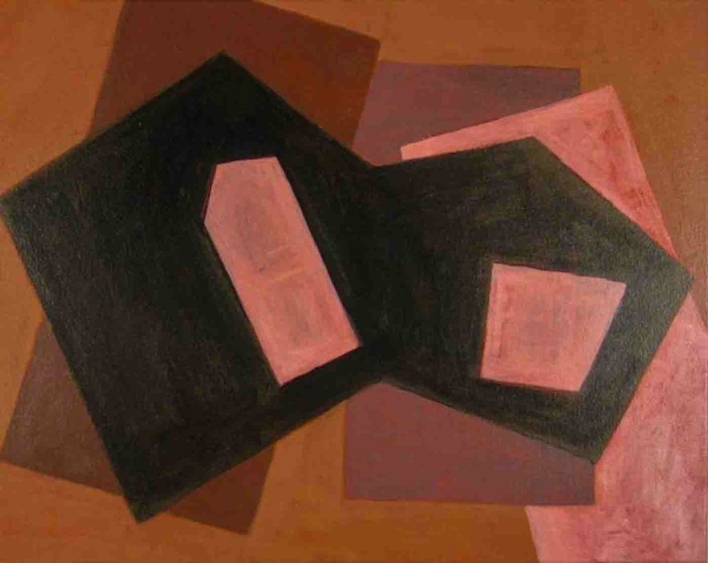 The image depicts a painting titled Transcription 607 by the artist Paul Di Zefalo. The work is an abstract painting restricted a minimalist colour pallete of just two colours.T he image is composed of austere polygonal shapes – no curves, and no open edges. The image supports the poem Transcription Of Organ Music written by the poet Allen Ginsberg.