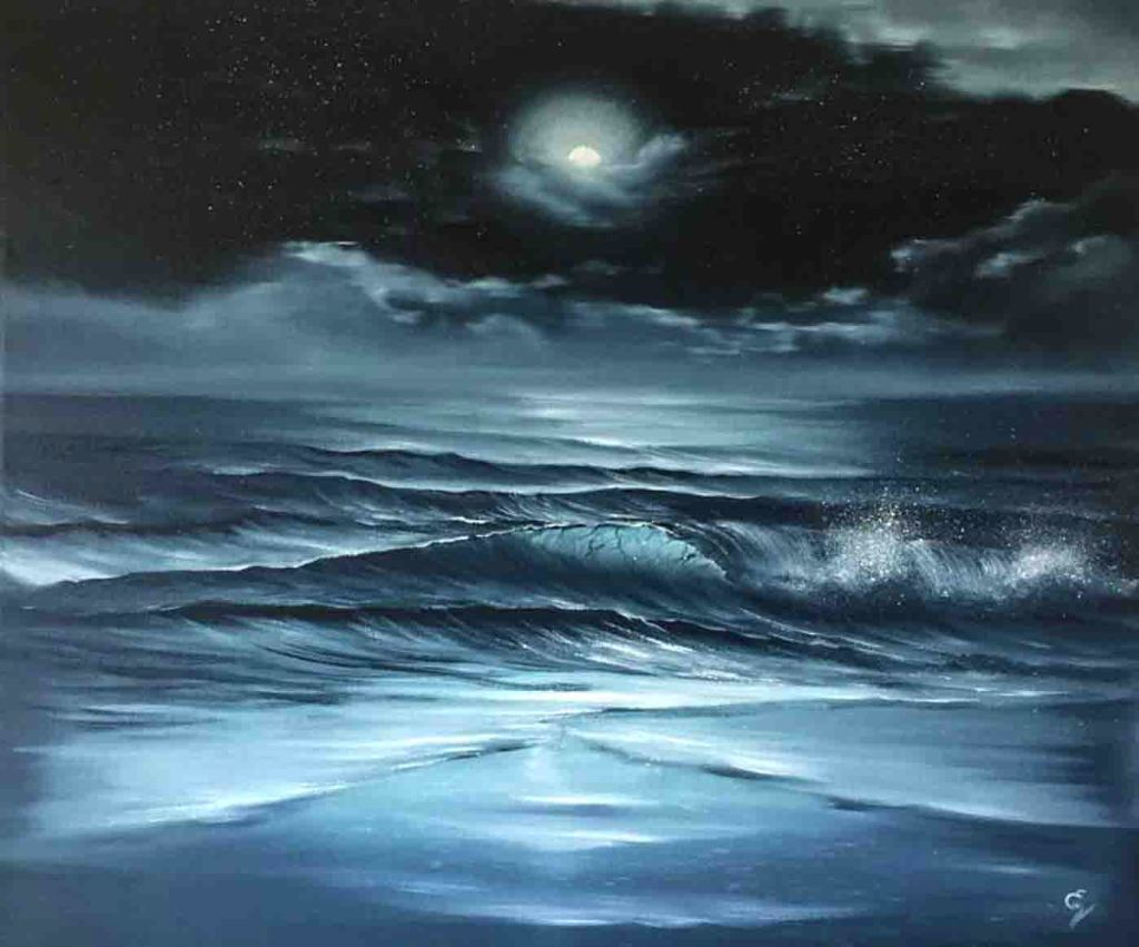 The image depicts a painting titled Night Time Prayer by the artist Eva Volf. The work is a monochromatic indigo seascape painting that captures a magnificent full moon under the veil of moonlit clouds over the sparkling night ocean.