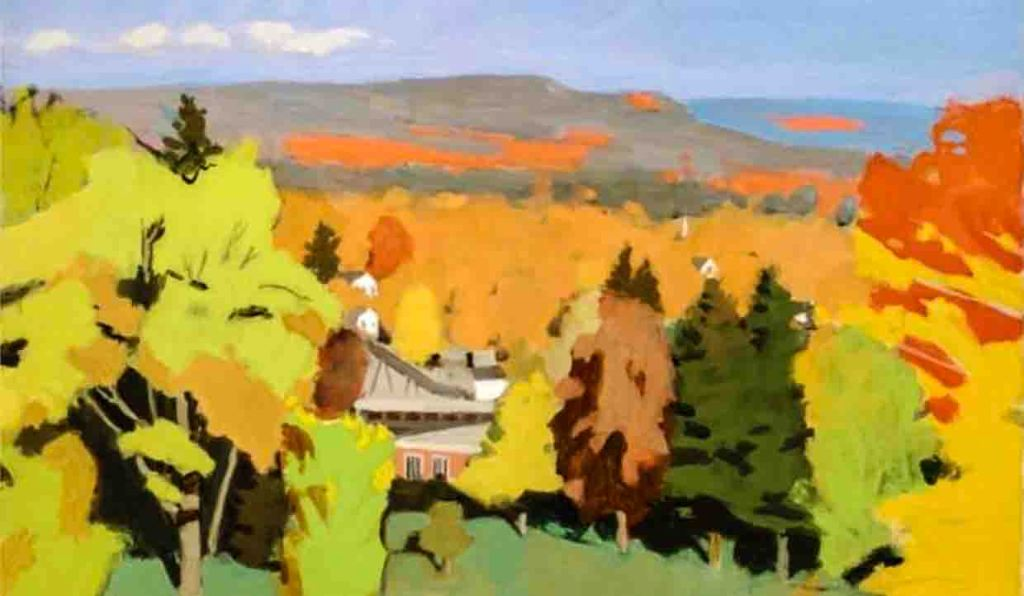 The image depicts a painting titled  Amherst Campus no.1 by the artist Fairfield Porter. The work is a vibrant panoramic landscape painting that captures the magnificent vivid changing colours of autumns trees and hills set against the white clouds and blue sky. The painting supports the poem Pencil and Paint written by the poet Eleanor Farjeon.