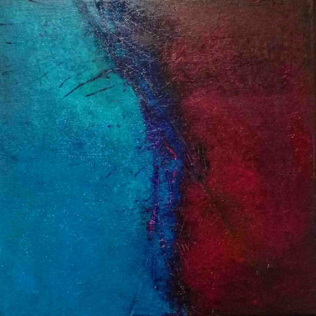 The image depicts a painting titled Silence by the artist Philip Bennetta. The work is a chromatic blue and maroon abstract painting that captures the sense of isolation under the veil of just two colours that appear to bleed into each other creating a feeling o atmospheric mystery and loneliness.