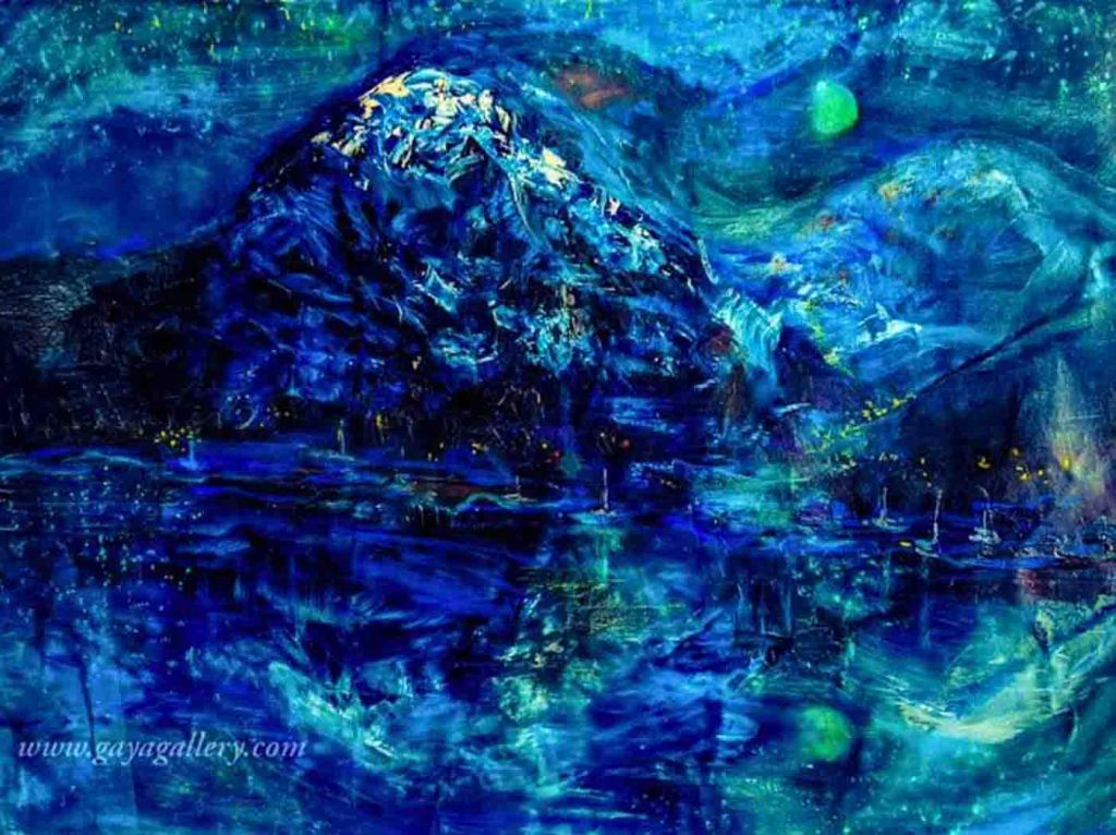 The image depicts a painting titled Silence by the artist Gaya Kairos. The work is a landscape painting of a night in mountains, reflections of starry sky on water, moon and some light from dwellings that captures the atmosphere of silence of the starry night.