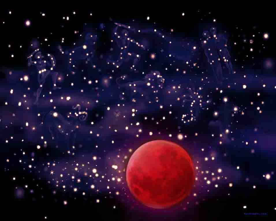 The image depicts a painting titled Blood Moon by the artist Jon Kevin Middleton. The work is a night-scape painting with Blood Moon set in a starry night sky with the constellations. The image supports the poem Autumn  written by the poet T. E. Hulme.
