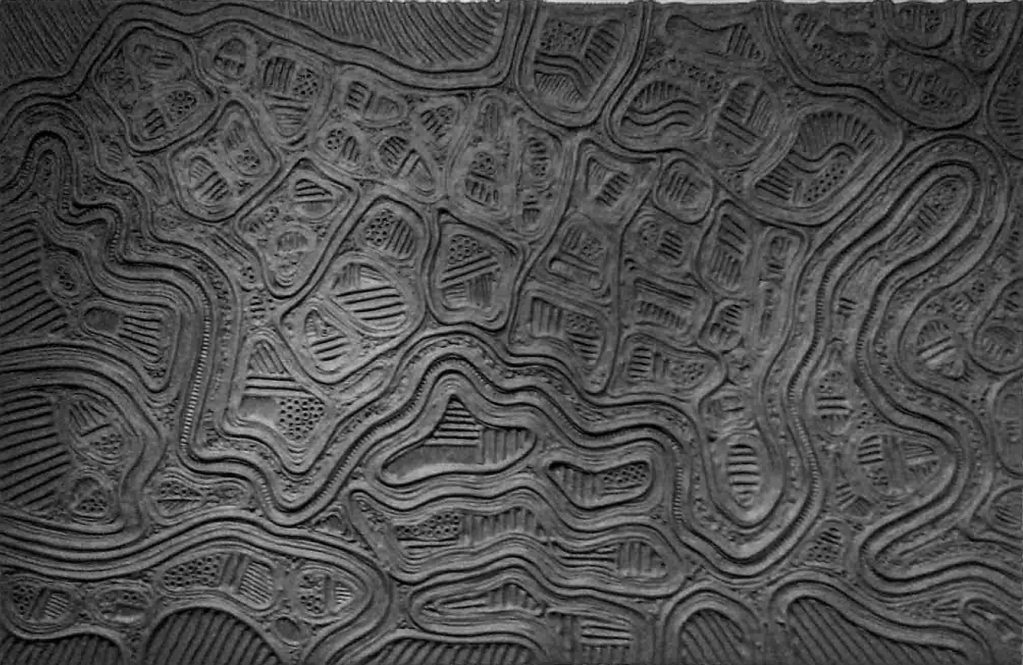 The image depicts a painting titled Landscape with Flowing Pathways  by the artist Goff James. The work is a monochromatic black multimedia landscape  painting that captures the various paths that tist and turn across an imaginary landscape..