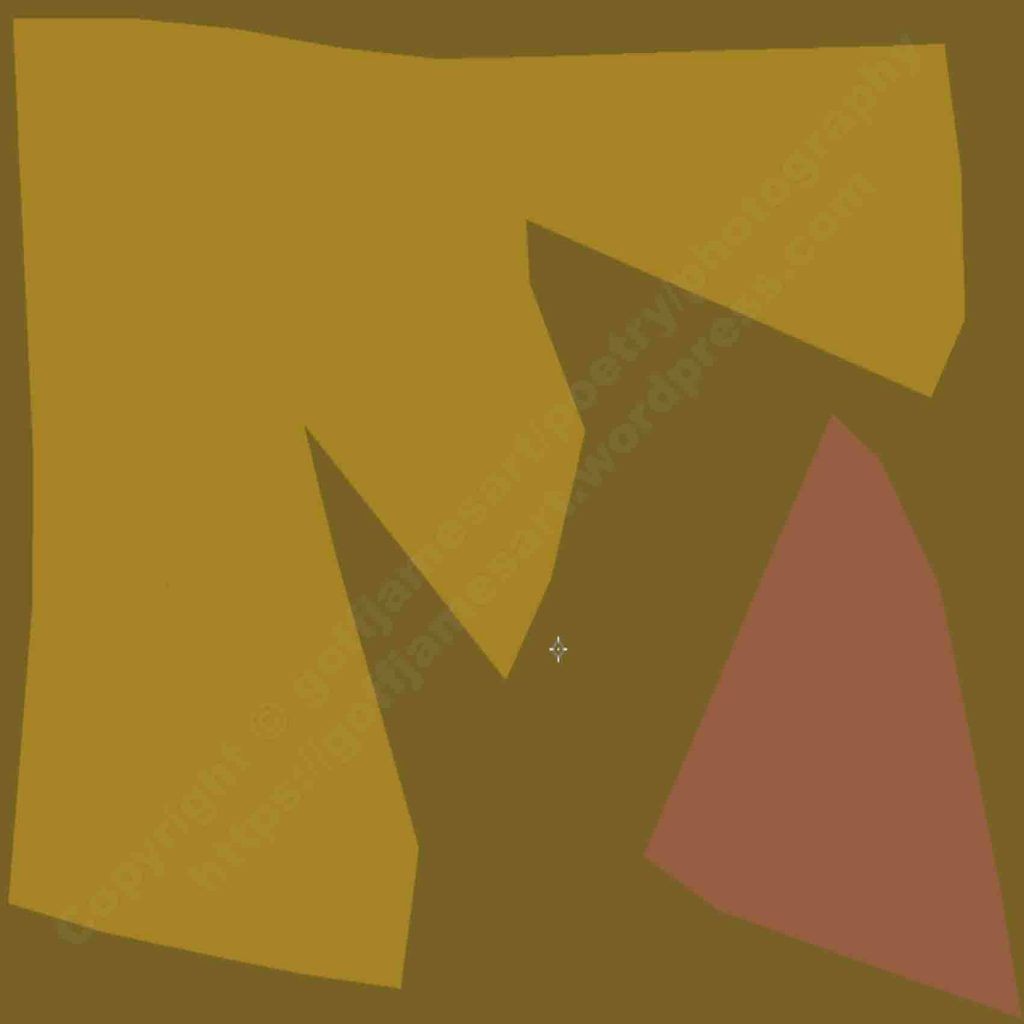 The image depicts a painting titled Silent Signal I by the artist Goff james. The work is a monochromatic abstract landscape painting. The work is composed of two different geometric shapes in opposition and counter balance each other on a dark ochre background. The palette is made up of just three colours in very subdued ochre hues.