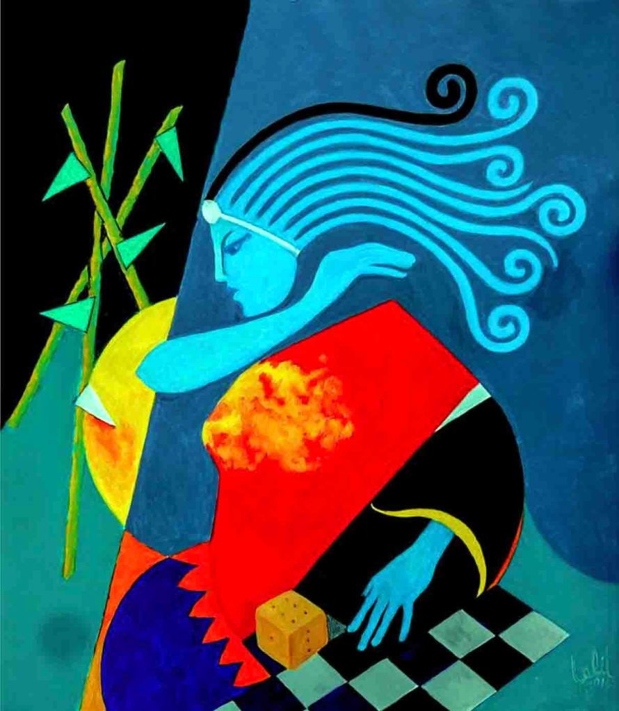 The image depicts a painting titled Lady Luck by the artist Lalit Jain. The work is a vibrant semi-abstract figurative painting  of a woman. The work imbued with some of the various artefacts associated with the question of good or bad luck .