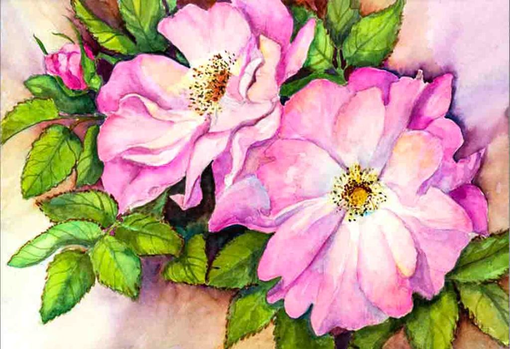 The image depicts a painting titled Wild Roses by the artist Joanne Porter. The work is a painting of two pink and white wild rose flower heads in full bloom with some leaves as a background. The image supports the poem To a Friend Who Sent Me Some Roses written by the poet John Keats.