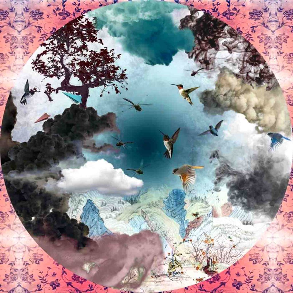 The image depicts a circular painting / collage titled Paradise by the artist. The work is a surreal landscape painting that captures the magnificence of an imagined earthly paradise, filled with birds and trees, under a veil clouds and blue sky framed by a pink and purple floral frame. It is a digital collage in neo-orientalist style, expressing current oriental aesthetics&visual culture.