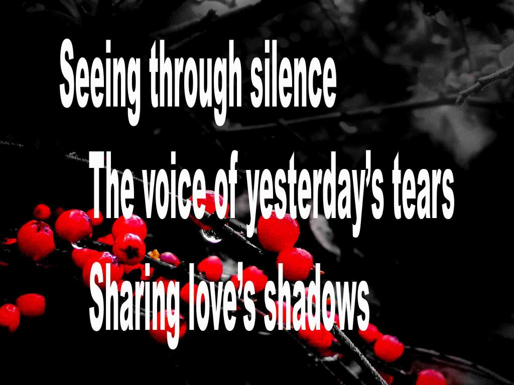 The image shows a spray of red berries on a black background on which is written a haiku poem titled Seeing Through Silence by the poet Goff James. The poem speaks of being able to see through silence, hear yesterday's tears and sharing love's shadows.