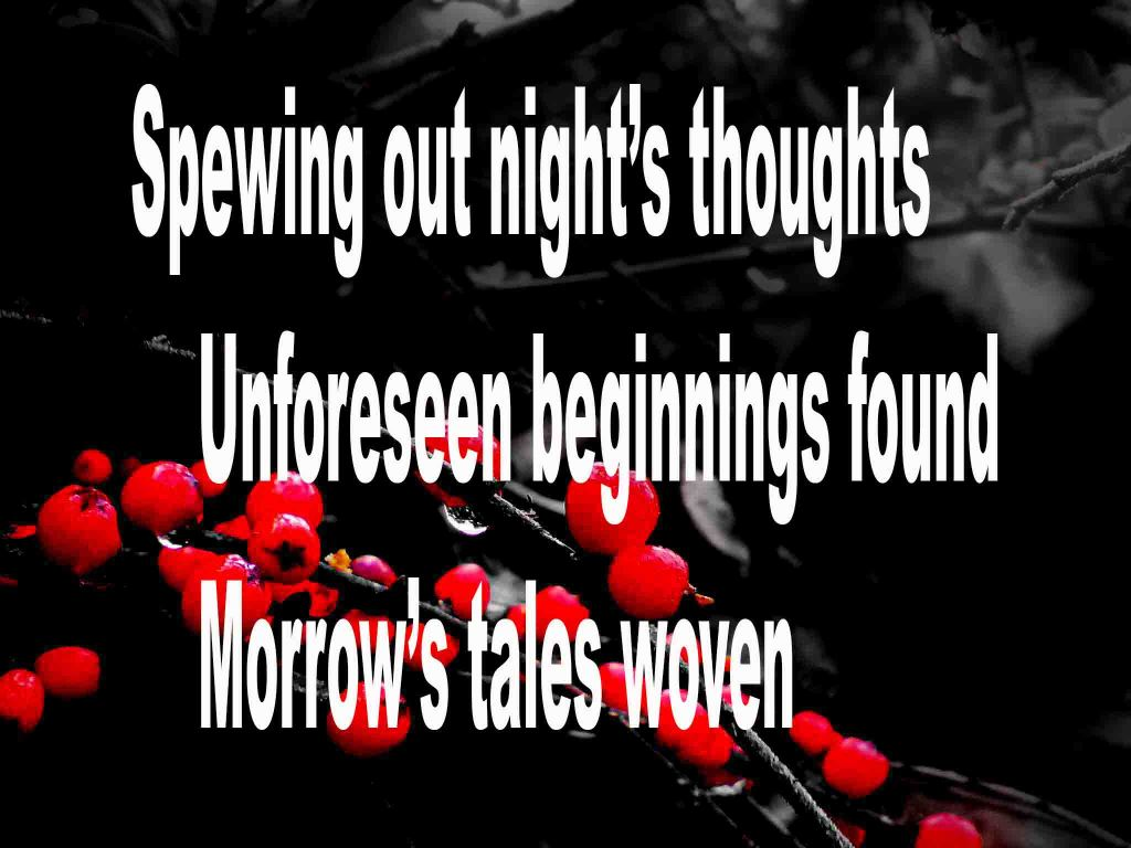 The image shows a spray of red berries on a black background on which is written a senryū poem titled Spewing Out Night's Thoughts by the poet Goff James. The poem speaks of spewing out night's thoughts and how unforeseen beginnings are found to tomorrows poems and stories.