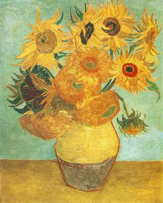 The image depicts a painting titled Sunflowers by the artist Vincent Van Gogh. The work is a brightly coloured painting of a vase of twelve sunflowers set against a turquoise background and ochre foreground. The flowers are set in two coloured vase of yellow and brown.