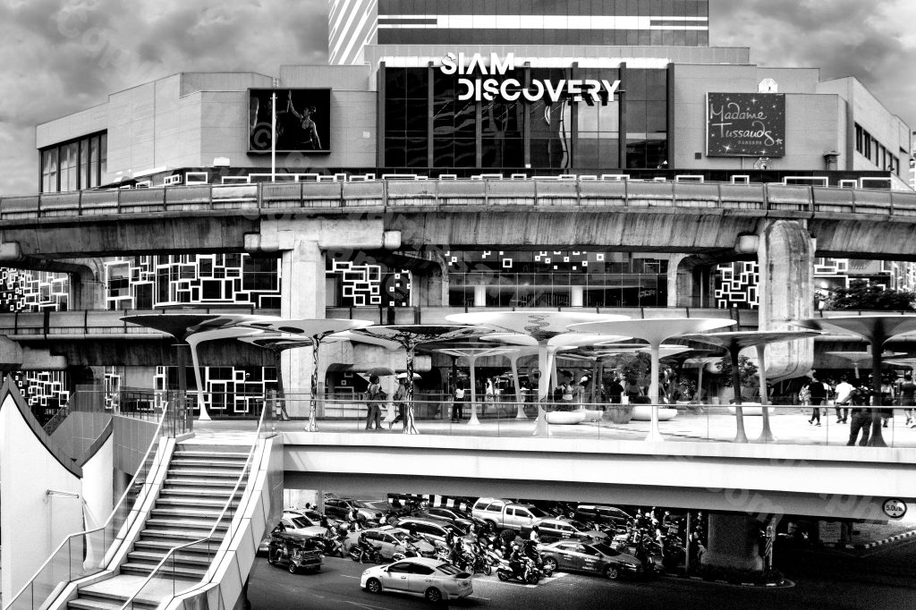 The image depicts a photograph titled Without words 442 by the photographer Goff James. The work is a black and white photo of of the facade of the Siam Discovery Centre Bangkok..