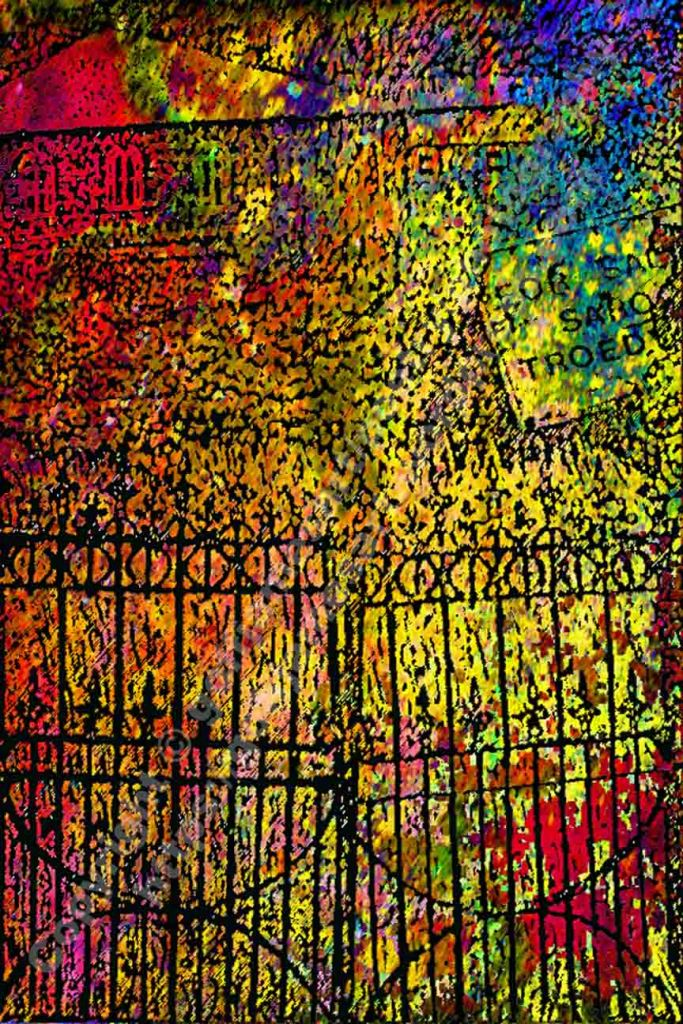 The image depicts a photograph titled Without Words 445 by the photographer Goff James. The work is an experimental semi-abstract composite vibrant multi-colour photo /print of a ruined chapel and graveyard viewed through the chapel main gate.